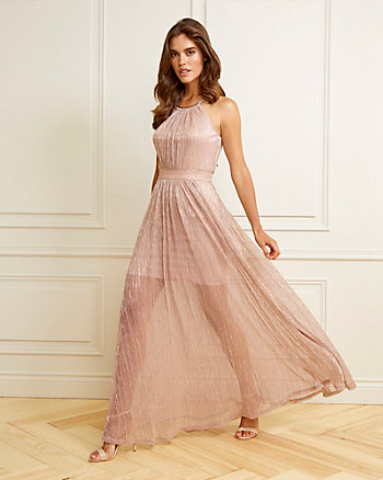 Metallic Chiffon Halter Neck Gown