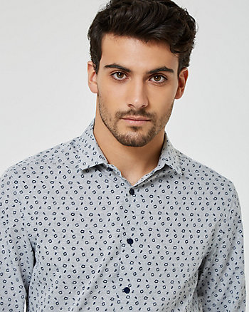 Geo Print Cotton Blend Slim Fit Shirt