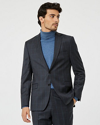Windowpane Check Wool Blend Blazer