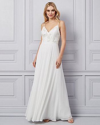 Embroidered Lace & Chiffon V-Neck Gown
