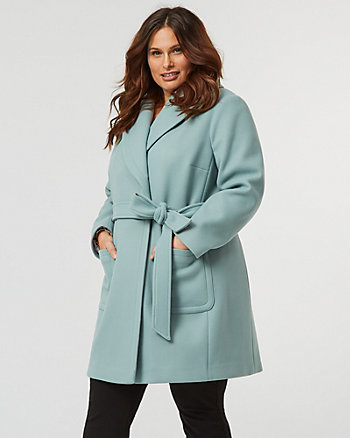 Knit Melton Shawl Collar Wrap Coat