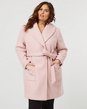 Knit Melton Shawl Collar Wrap Coat