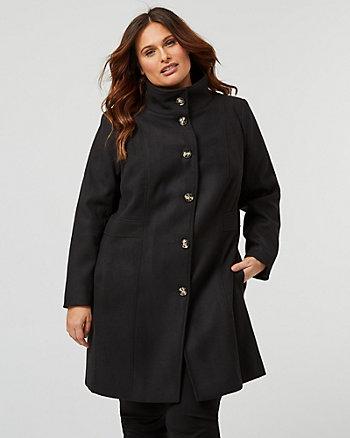 Cashmere-Like Funnel Neck Coat