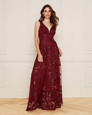 Embroidered Mesh V-Neck Gown