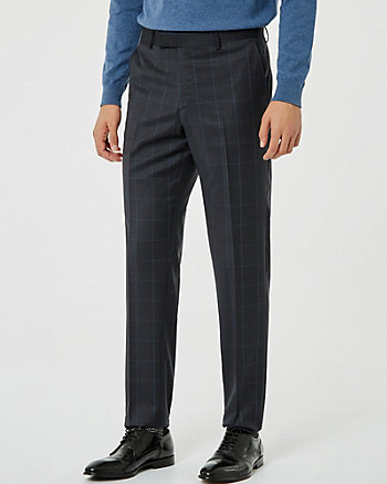 Windowpane Check Wool Blend Pant