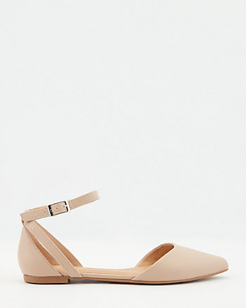 Faux Leather Pointy Toe d'Orsay Flat