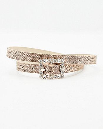 Gem Encrusted Faux Leather Belt