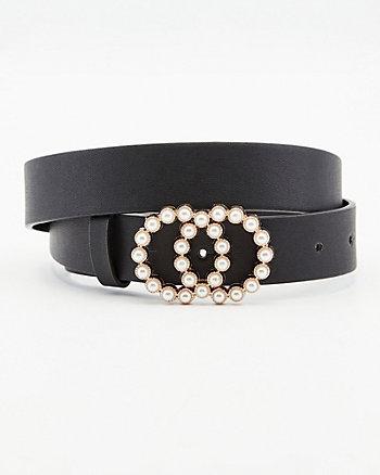Pearl Embellished Double-O Belt