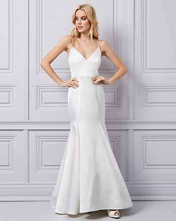 Stretch Satin & Lace V-Neck Trumpet Gown