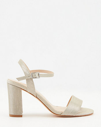 Sandale à talon bloc et fini métallique