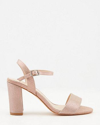 Metallic Open Toe Block Heel Sandal