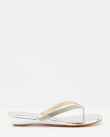 Jewel Embellished Metallic Faux Leather Sandal