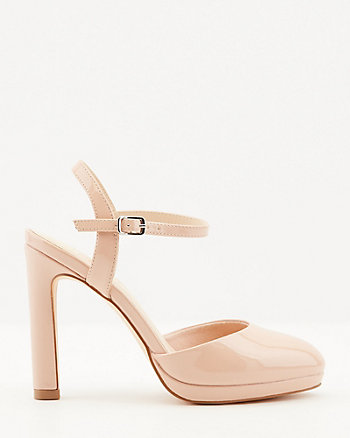 Patent Faux Leather Almond Toe Pump