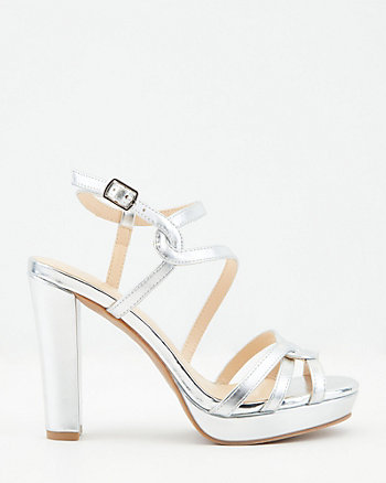 Faux Leather Peep Toe Platform Sandal