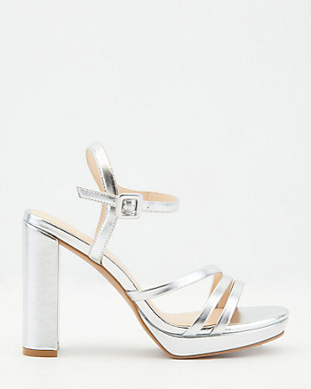 Faux Leather Open Toe Platform Sandal