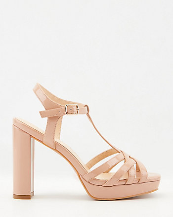 Patent Faux Leather Platform Sandal