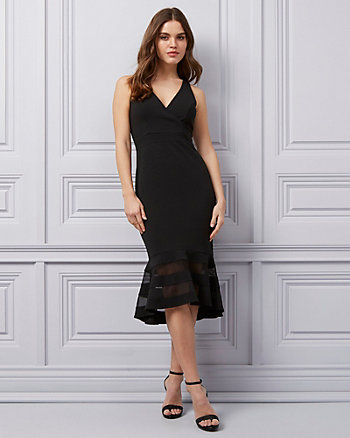 Knit Crêpe V-Neck Trumpet Dress