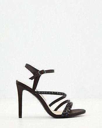 Strappy Jewel Embellished Satin Sandal