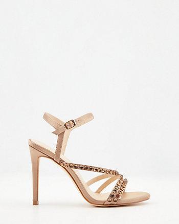 Strappy Jewel Embellished Satin Sandal