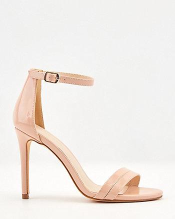 Patent Faux Leather Open Toe Sandal