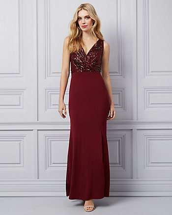 Sequin Lace & Mesh Wrap-Like Gown
