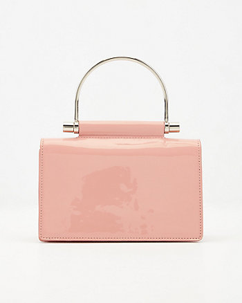 Patent Faux Leather Top Handle Clutch