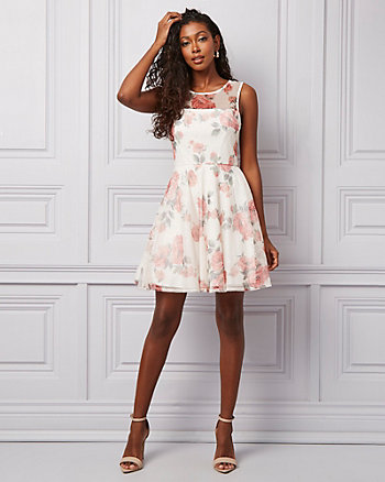 Floral Print Mesh Illusion Party Dress