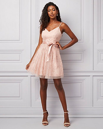 Sequin & Mesh V-Neck Party Dress