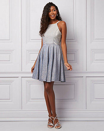 Ombré Sparkle Knit Halter Neck Party Dress