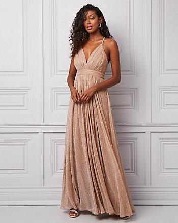 Glitter Mesh Deep-V Neck Gown