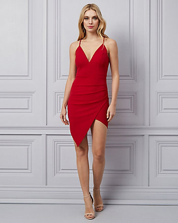 Knit Wrap-Like Racer Back Dress