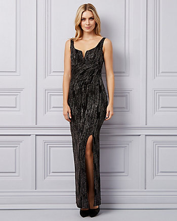 Sparkle Knit Deep-V Gown