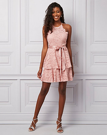 Sparkle Lace Halter Fit & Flare Party Dress