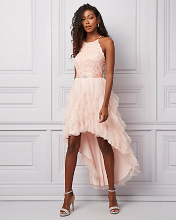 Sparkle Lace Illusion High-Low Dress