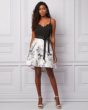 Floral Print Satin & Knit V-Neck Dress