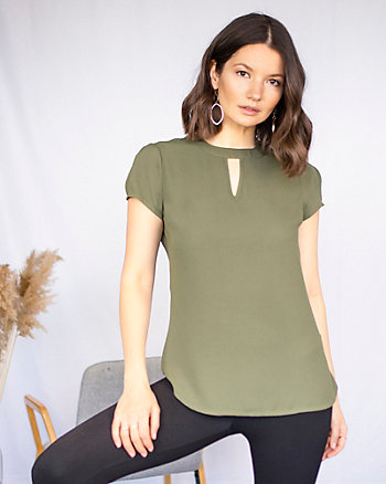 Cutout V-Neck Blouse