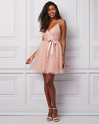 Sparkle Knit & Mesh V-Neck Party Dress