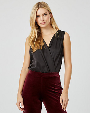 Stretch Satin Wrap-Like Bodysuit Blouse