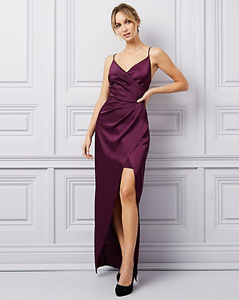 Stretch Satin Chiffon Wrap-Like Gown