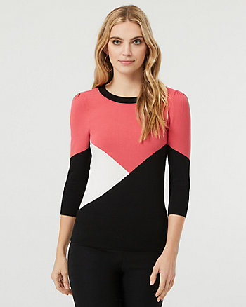 Colour Block Knit Crew Neck Sweater