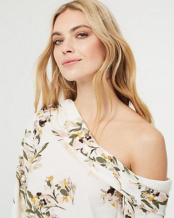 Blouse à motif floral et épaule dénudée