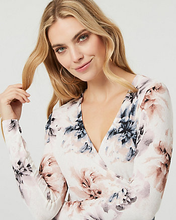 Floral Print Knit Wrap-Like Top