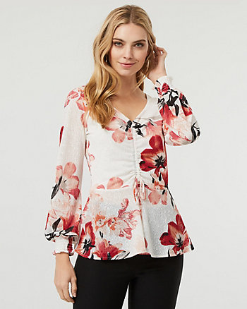 Floral Print Knit V-Neck Peplum Top