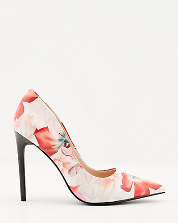 Floral Print Faux Leather Pointy Toe Pump