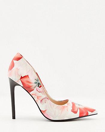 Escarpin à motif floral en similicuir