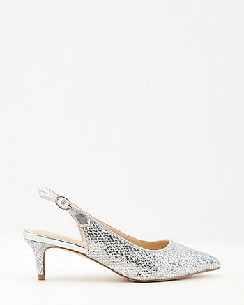 Glitter Pointy Toe Slingback Pump