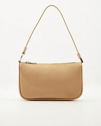 Faux Leather & Lycra Shoulder Bag