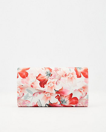 Floral Print Faux Leather Clutch