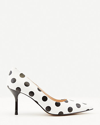 Dot Print Faux Leather Pointy Toe Pump