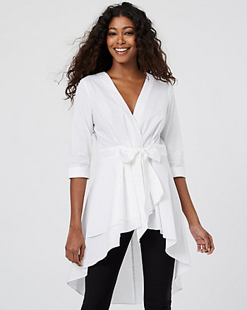 Stretch Cotton Poplin Wrap-like Shirt